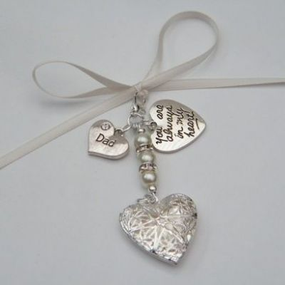 Bridal Bouquet Photo Charm - Heart Shaped Locket Double Charm Style